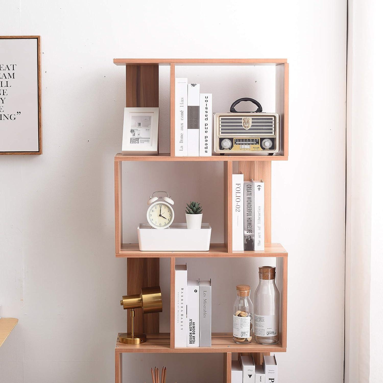 Decor Moderne HxLxL - Art Rebecca Mobili Etagere 5 Niveaux Dimensions: 172,5 x 60 x 24 cm RE4789 pour Salon Bureau Bibliotheque Bois Marron