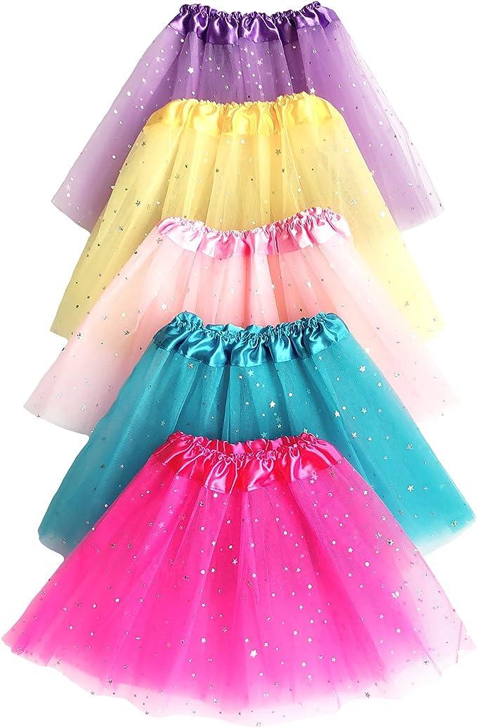 Timormode Mini tut/ú de tul lentejuelas multicolor brillante
