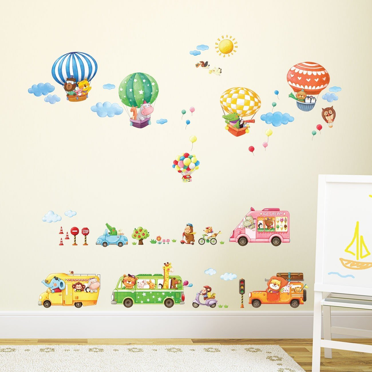 Decowall Da 1806p1406b Tiertransporte Und Hot Air Luftballons Kinder Wand Sticker Wand Aufkleber Schalen Und Stick