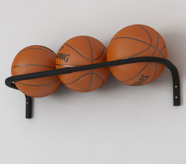Wall Mount Basketball Ball Rack Storage Bar Adjustable Fits up to 3 Balls