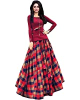 Vastra Villa Womens Satin Lehenga Choli (Checks_Printed _Multi Coloured _Free Size)