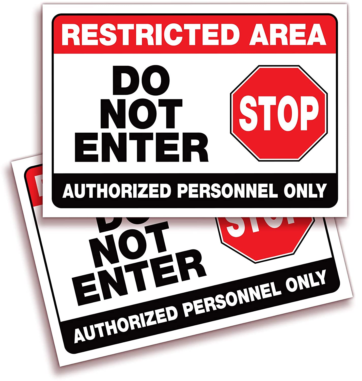 Restricted area do not enter authorized personnel only signs stickers 2 pack 10x7 inch premium self adhesive vinyl laminated for uv weather