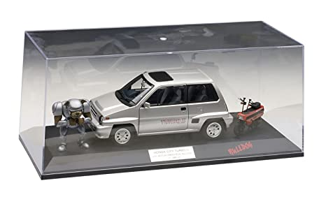 Honda City Turbo II Silver With Motocombo In Red with Bulldog and display case 1/