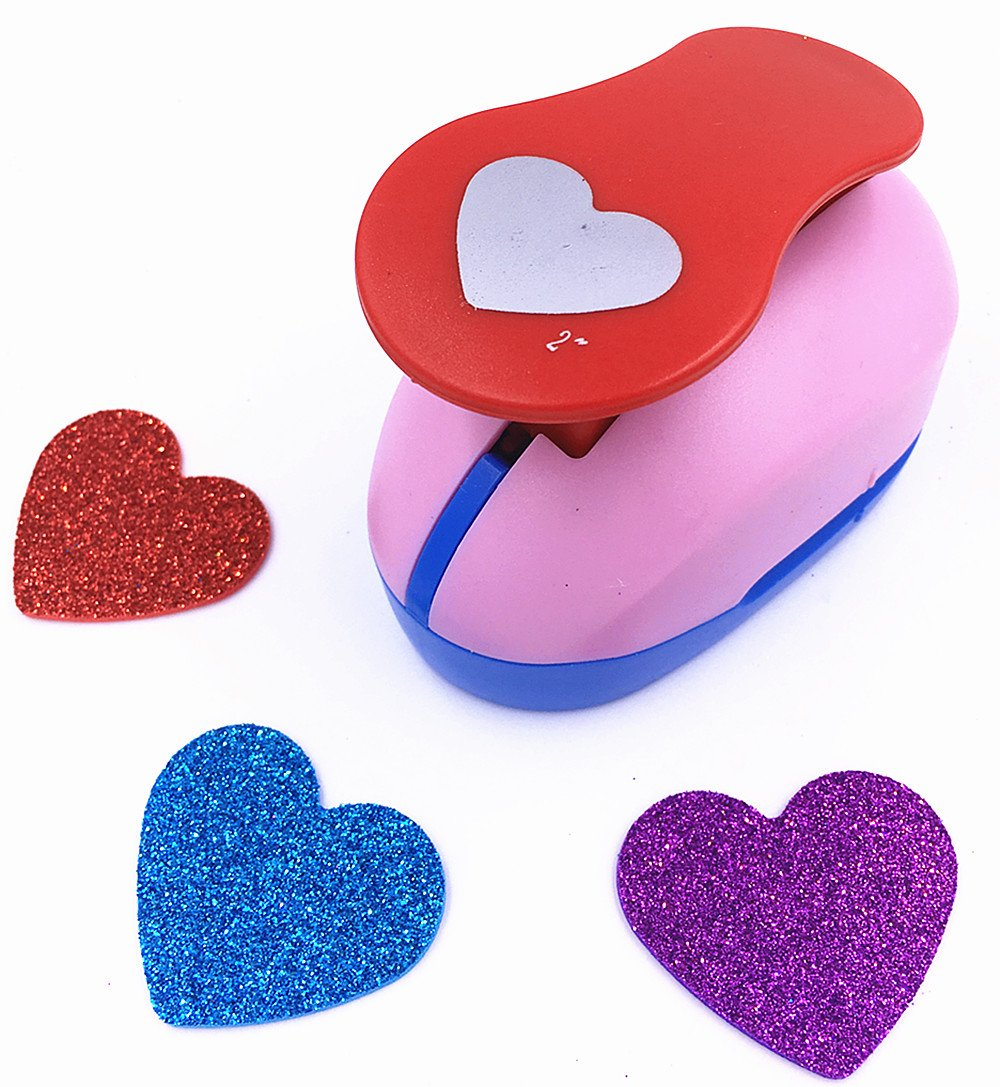 TECH-P Creative Life Large 2- Inch Multi-pattern Hand Press Paper Craft Punch For Making Colorful Paper Garland Hearts Hanging Decoration Arts Crafts Cards DIY Scrapbooking Engraving -Heart