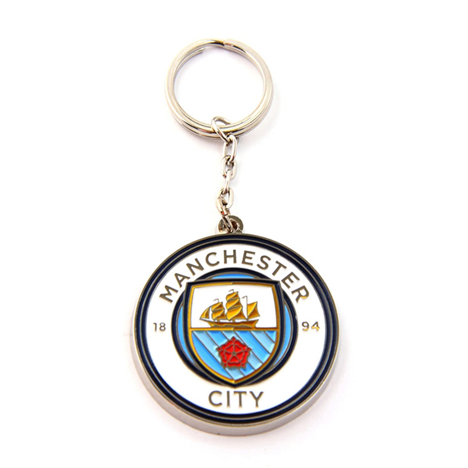 Manchester City FC Official Metal Football/Soccer Crest Keyring UTSG8096_1