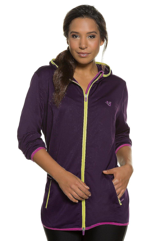 Ulla Popken Women's Plus Size Active Power Stretch Hooded Jacket 708739