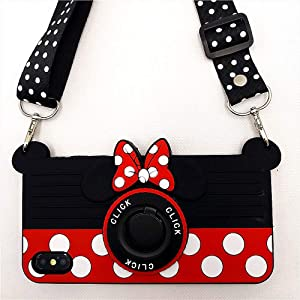 iPhone XR Case Cute iPhone XR Case Minnie Mouse 3D Carton Camera with Rotating Ring Grip Holder Kickstand Lanyard Teens Girls Women Kids Soft Silicone Rubber Phone Case Cover for iPhone XR -6.1