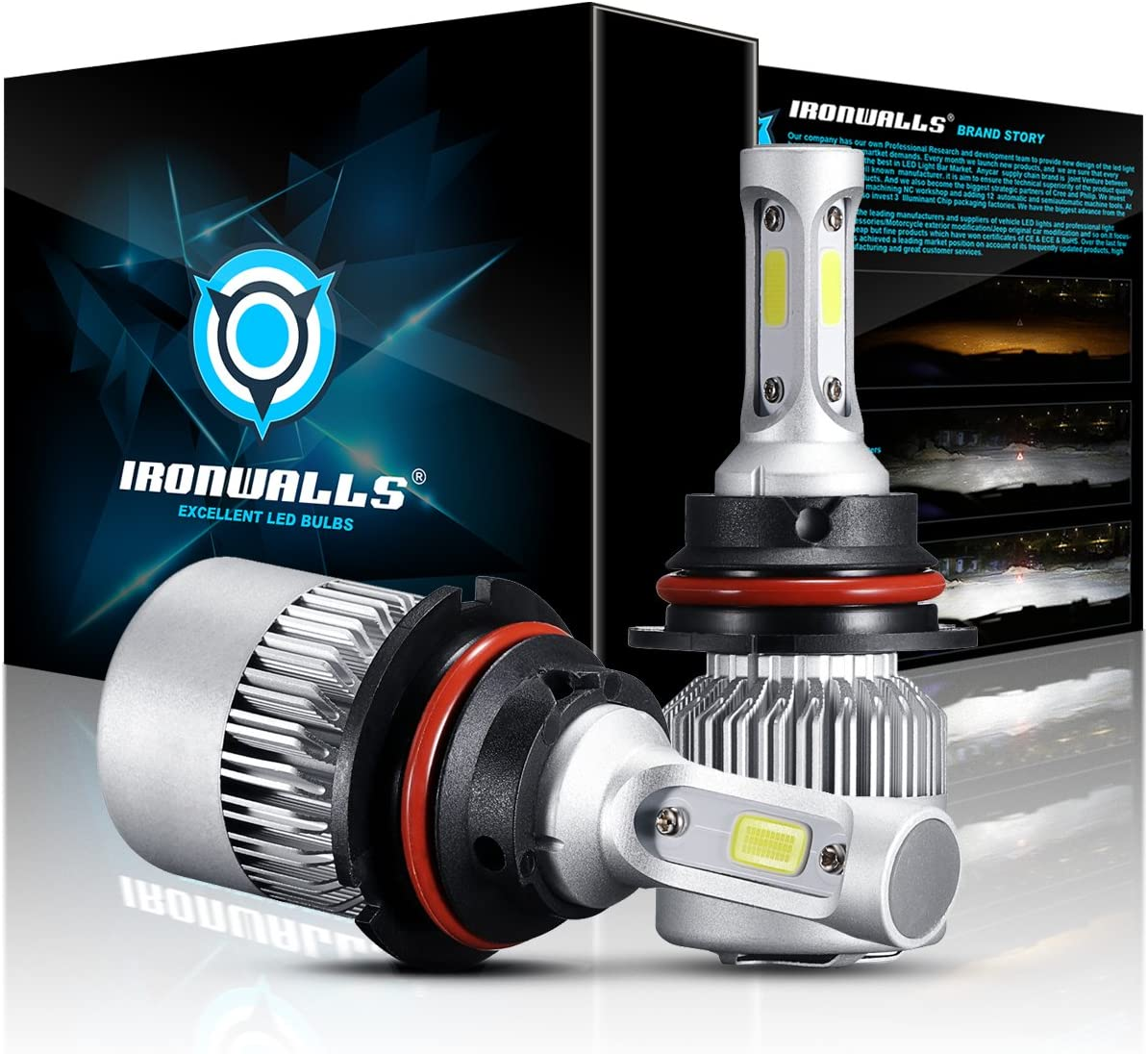IRONWALLS F-S2 Series 2PCS 9007 LED Headlight Fog Light Bulbs All-in-One Conversion Kit 72W 8000LM 6500K COB Chips White High Low Beam