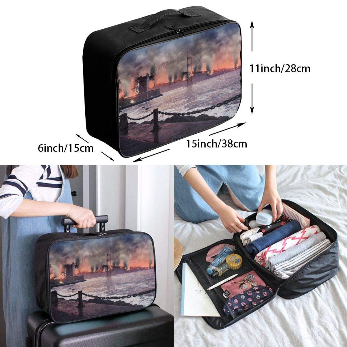 Bridge Building City Dusk Ocean Wharf Travel Lightweight Waterproof Foldable Storage Carry Luggage Large Capacity Portable Luggage Bag Duffel Bag