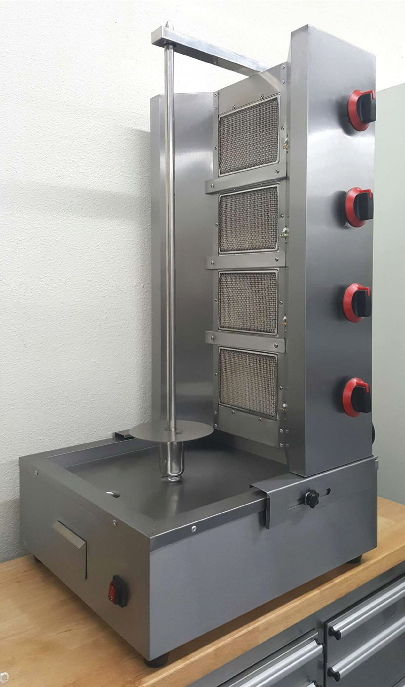 Commercial 4 Zone 54,000 BTU Gas Vertical Broiler Rotisserie Oven Machine Cooker, for Shawarma, Tacos Al Pastor, Gyro, Doner Kebab