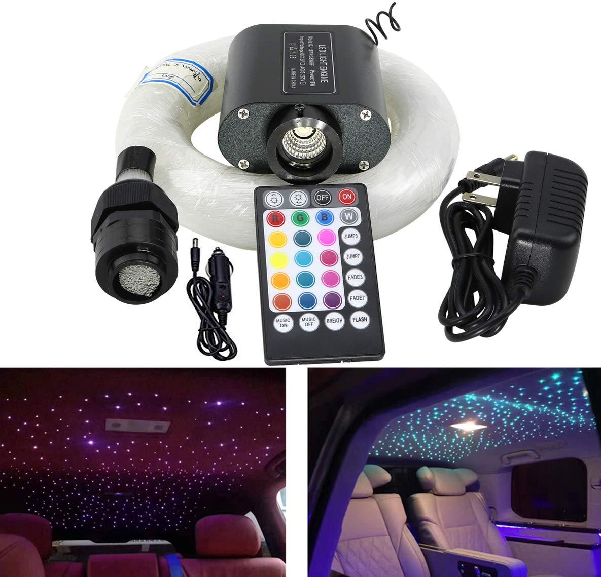 AZIMOM 16W Remote RGBW Led Fiber Optic Star Ceiling Kit for Sensory Curtain Waterfall Lighting Car Home Decoration 450pcs 0.75mm 9.8ft