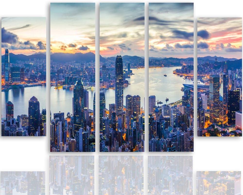 Feeby Frames ARCHITETTURA Panorama Quadro multipannello di 5 Pannelli New York Quadro su Tela Stampa Artistica Cielo Paesaggio Azzurro 100x150 cm EDIFICI Canvas Tipo B Citt/à GRATTACIELI
