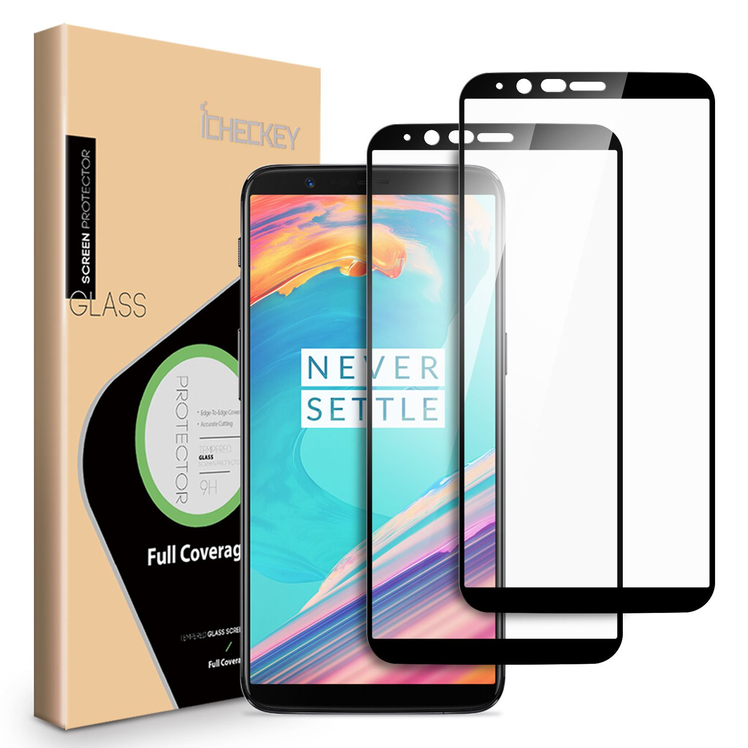 1b8c51685560fd Amazon.com: OnePlus 5T Screen Protector - [2 Pack] ICHECKEY [Full Adhesive]  [2.5D Full Coverage ] Tempered Glass Screen Cover Shield for OnePlus5T -  Black: ...