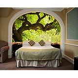 Startonight Mural Wall Art Photo Decor Tree on the Green Landscape Medium 4-feet 2-inch By 6-feet Wall Mural for Living Room or Bedroom
