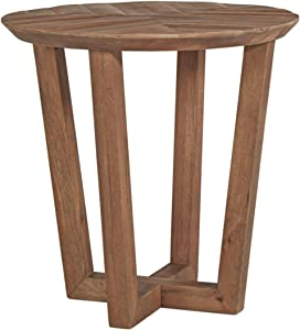 Signature Design by Ashley - Kinnshee Natural Wood Round End Table, Brown