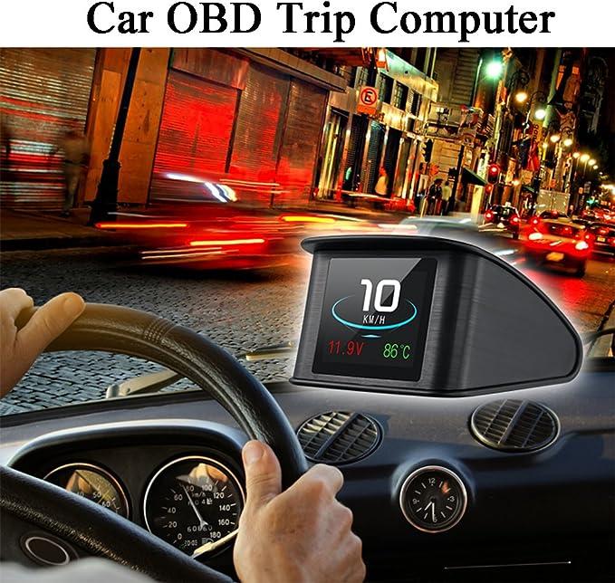 Akozon RPM Tachimetro LCD multifunzione Car HUD Head Up Display Digitale OBD2 EU-OBD