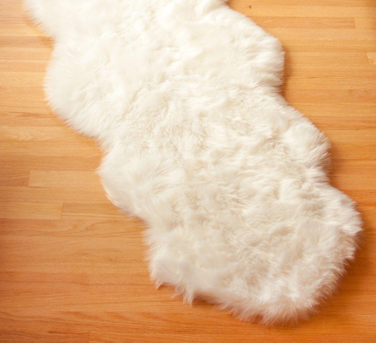 UltraPlush Faux Sheepskin Rug - Premium Quality Faux Fur Area Rug 2ft x 6ft - White ULTRAPlush Series
