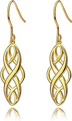 Celtic Knot Dangle Earrings High Polished S925 Sterling Silver Good Luck Earring Infinity Wave Hook Earrings for Women Girls Christmas Gift