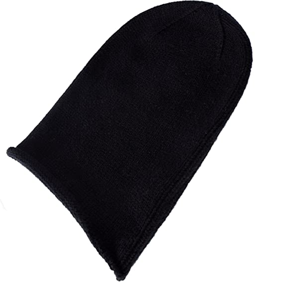 Love Cashmere Mens 100% Cashmere Beanie Hat - Black - hand made in ... e4c235565cc8