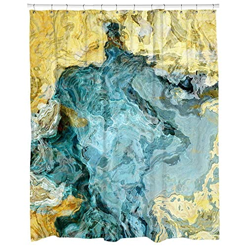 Abstract Art Shower Curtain In Aqua Blue And Yellow Beach Time