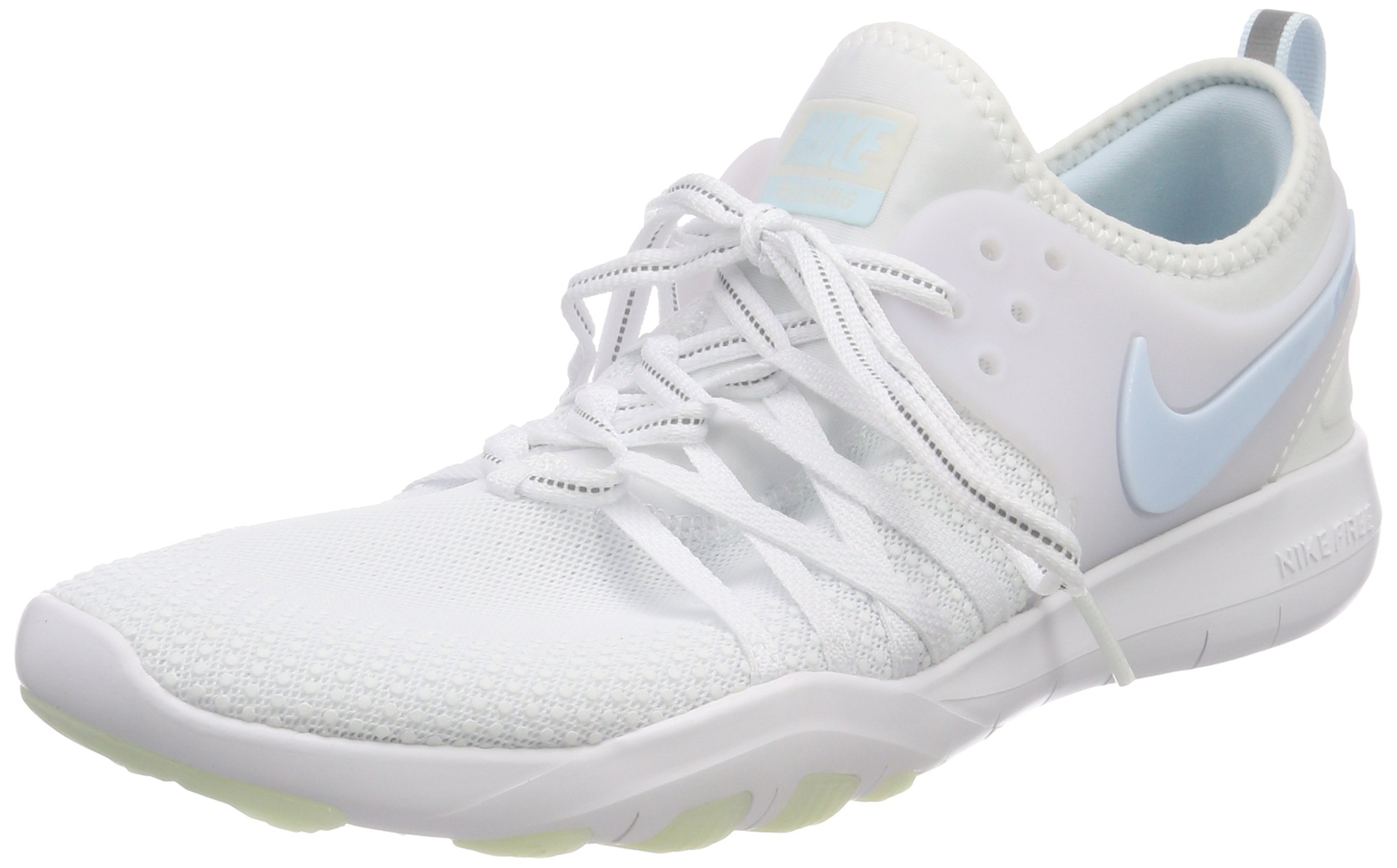 NIKE Women's Free TR 7 Training Shoes (9, White/Grey/Blue-M) by NIKE (Image #1)