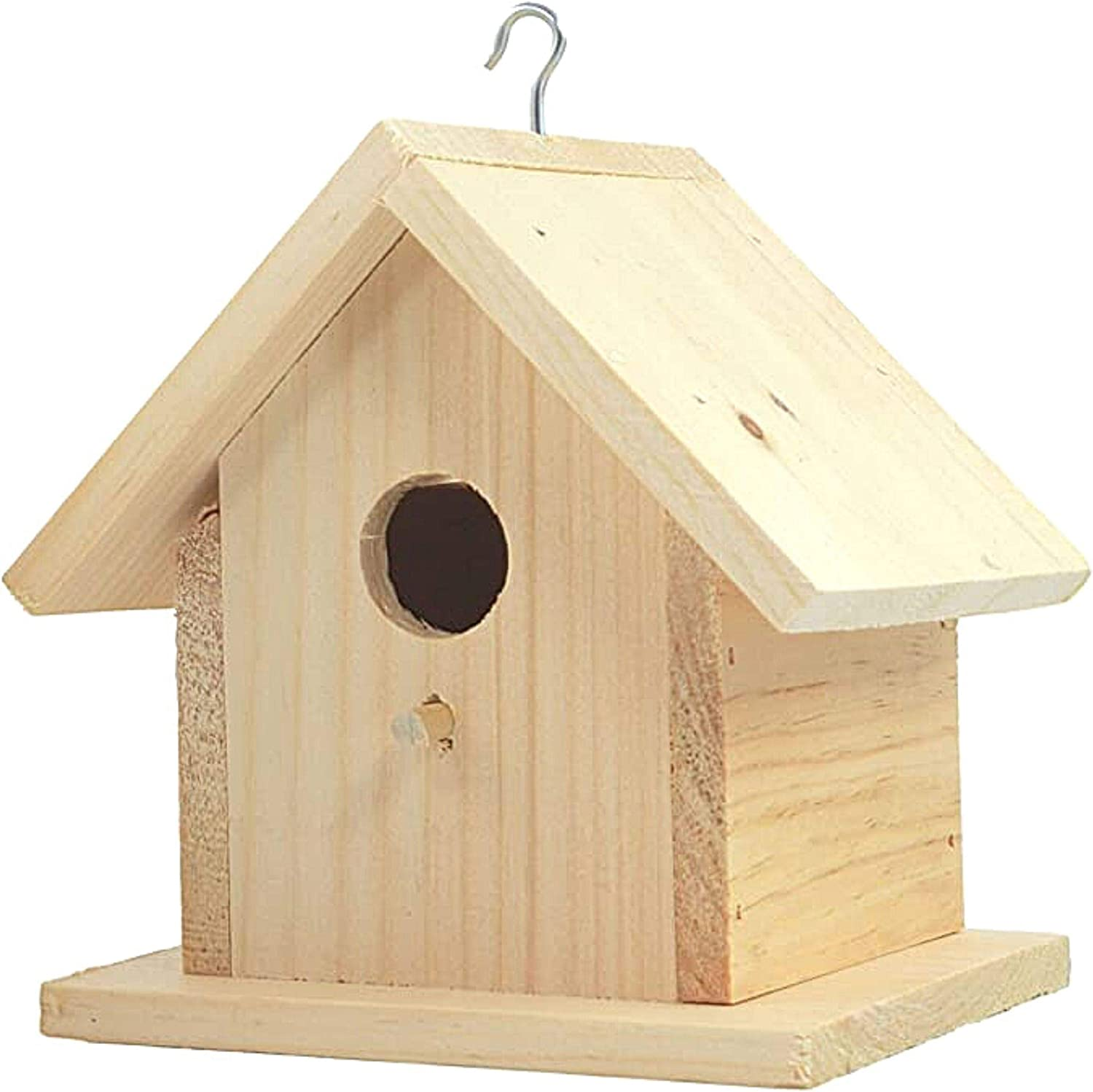 """Amazon.com : Unfinished Birdhouse to Paint for Birdwatching with Perch, Natural Wood Pine Frame for Finches and Songbirds, Heavy Duty Outdoor Hanging Use (6.5"""") : Garden & Outdoor"""