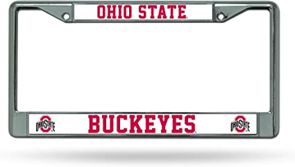 Rico Industries Ohio State Buckeyes Laser Cut Silver License Plate,12x6