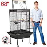 Yaheetech Large Bird Cage with Play Top & Rolling Stand - Parrot Cockatoo Cockatiel Parakeet Pet Bird House,62''/68''