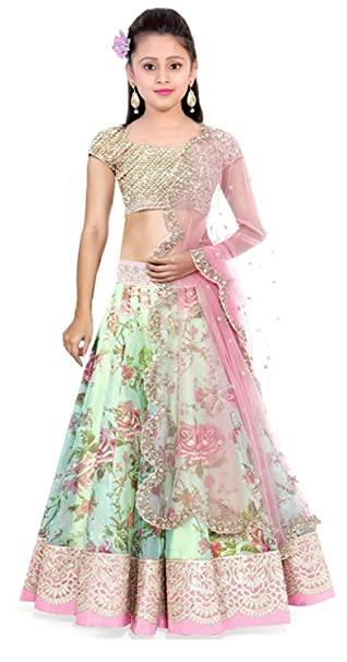 9e59417e9ae Superdeal Multicolor Soft Net Girl s Lehenga Choli  (Superdeal Kid404 Kids Girlswear 8-12 Yrs)  Amazon.in  Clothing    Accessories