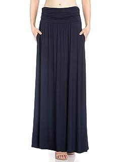 0abab004593cb0 Fashion California Womens 1-2 Pack High Waist Shirring Maxi Skirt with Side  Pockets (