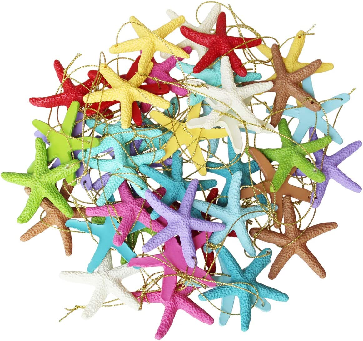 LJY 40 Pieces 2.3 Inches Resin Pencil Finger Starfish with Rope for Christmas Tree Hanging Ornaments Beach Theme Wedding Home Decor & DIY Craft Project, 10 Colors