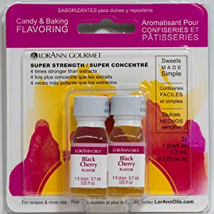 LorAnn Black Cherry Super Strength Flavor, 1 dram bottle (.0125 fl oz - 3.7ml) - Twin pack blistered