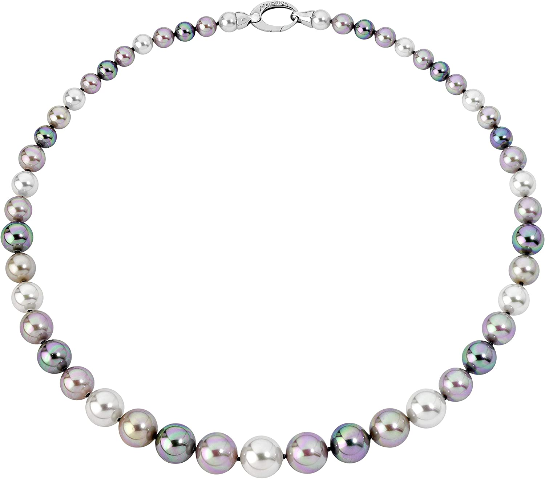 Majorica LFYM8426881530139 - Collar de 45 cm de largo en plata de ley 925 rodiada con perlas redondas de 6/12 mm