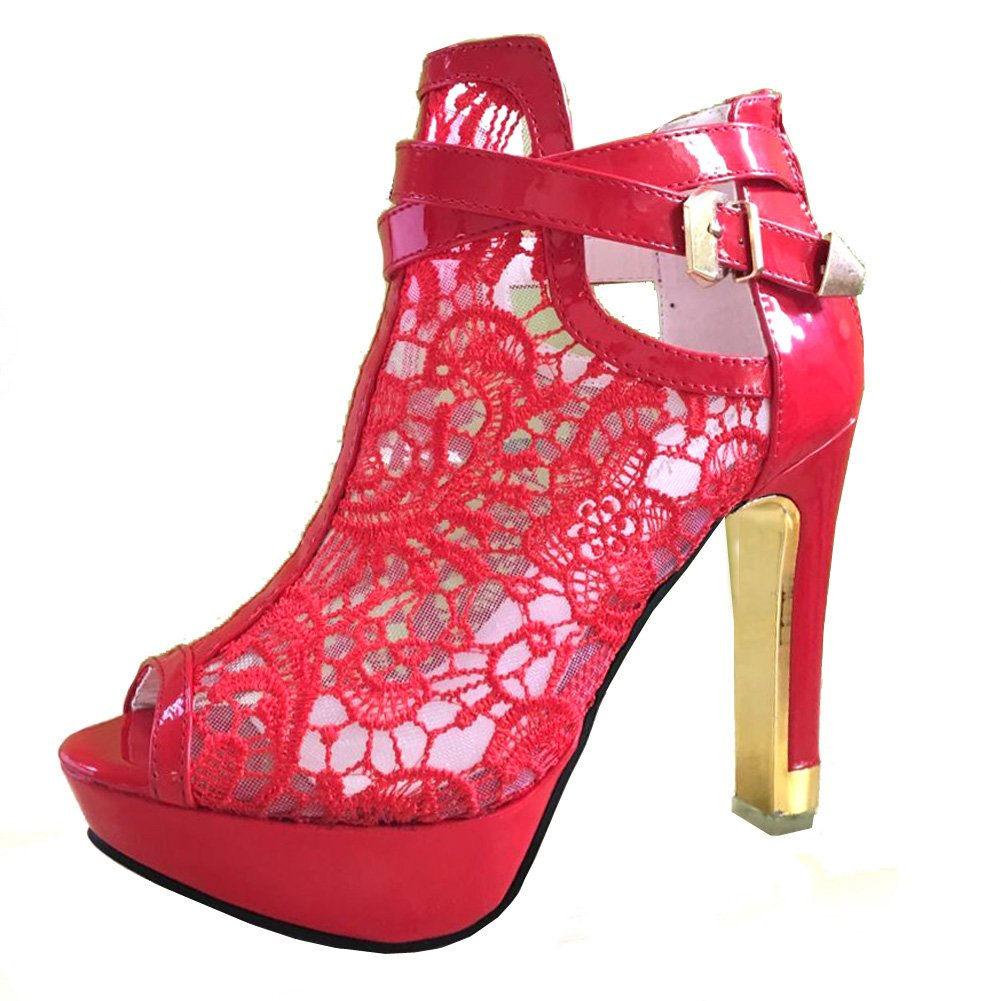 Sexy Pirate Red Floral Lace Open Toes Patent Leather Buckle Strap High-Heel Ankle Boots - DeluxeAdultCostumes.com