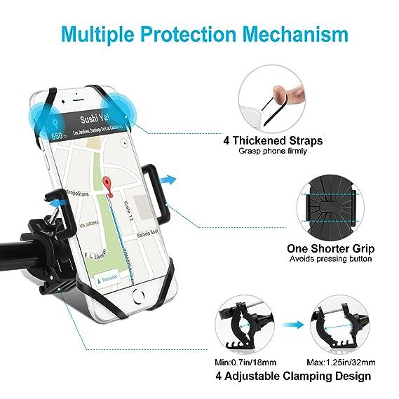 Soporte Movil Bicicleta, Techole Soporte Móvil Bici, Anti Vibración Soporte Móvil Moto Universal con Rotación 360 ° Ajustable, Soporte para iPhone X, ...