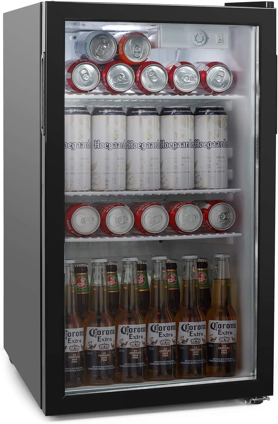 COOLLIFE Beverage Refrigerator Cooler -100Can Mini Fridge with Reversible Glass Door for Beer Soda or Wine-3.2cu.ft. Drink Center Dispenser Perfect for Office/Basements/Home Bar (3.2 cubic feet)