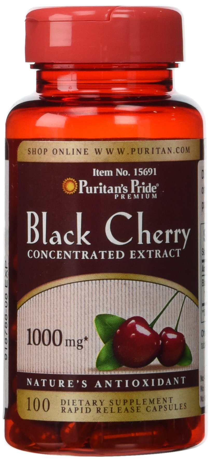 Puritan's Pride Black Cherry 1000 mg-100 Capsules