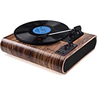 Record Player, VOKSUN Vintage Turntable 3-Speed Bluetooth Vinyl Player LP Record Player with Built-in Stereo Speaker, AM…