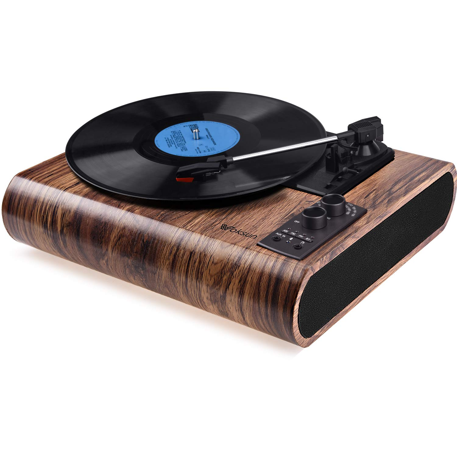 front facing Voksun 3-Speed Bluetooth Turntable