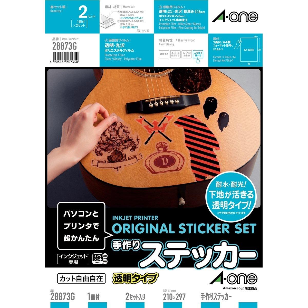 【Amazon.co.jp限定】 エーワン 手作りステッカー 透明 28873 2枚パック