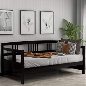 Twin Daybed Frame, Solid Wood Daybed Frame,No Box Spring Needed, Espresso Daybed
