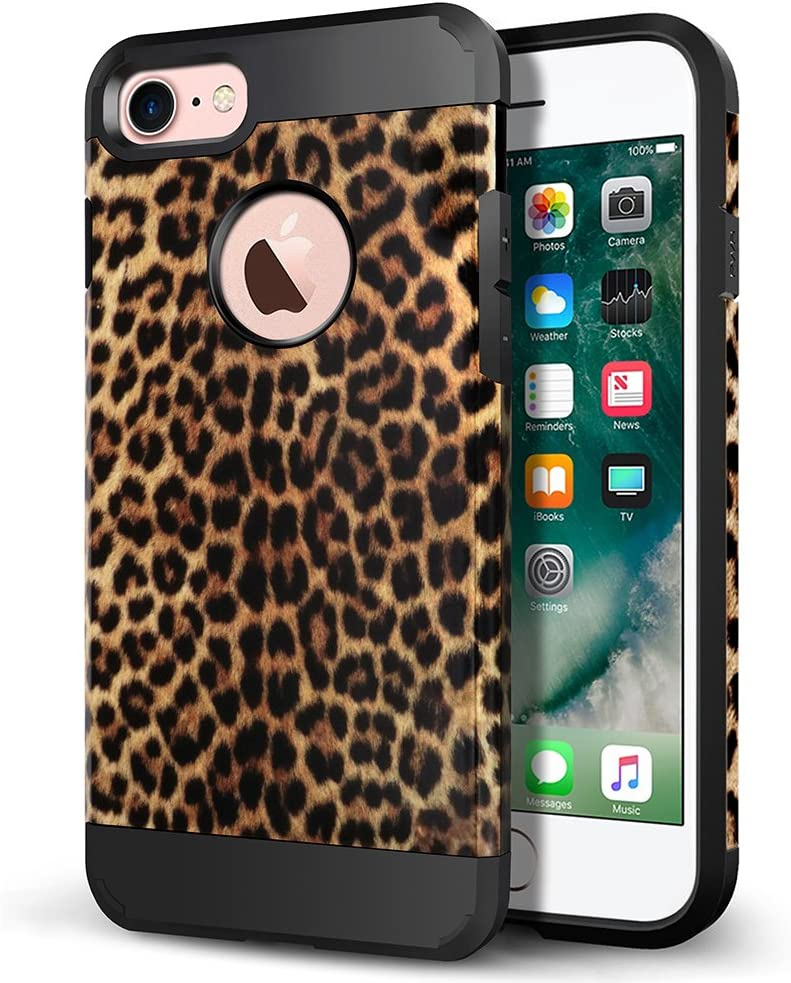 "iPhone 8 Case, iPhone 7 Case, LOEV Slim Fit Dual Layer Heavy Duty Protective Case Anti-Scratch Hard PC Armor & Shockproof Rubber Bumper Cover for Apple iPhone 7/8 4.7"", Leopard Print Pattern"