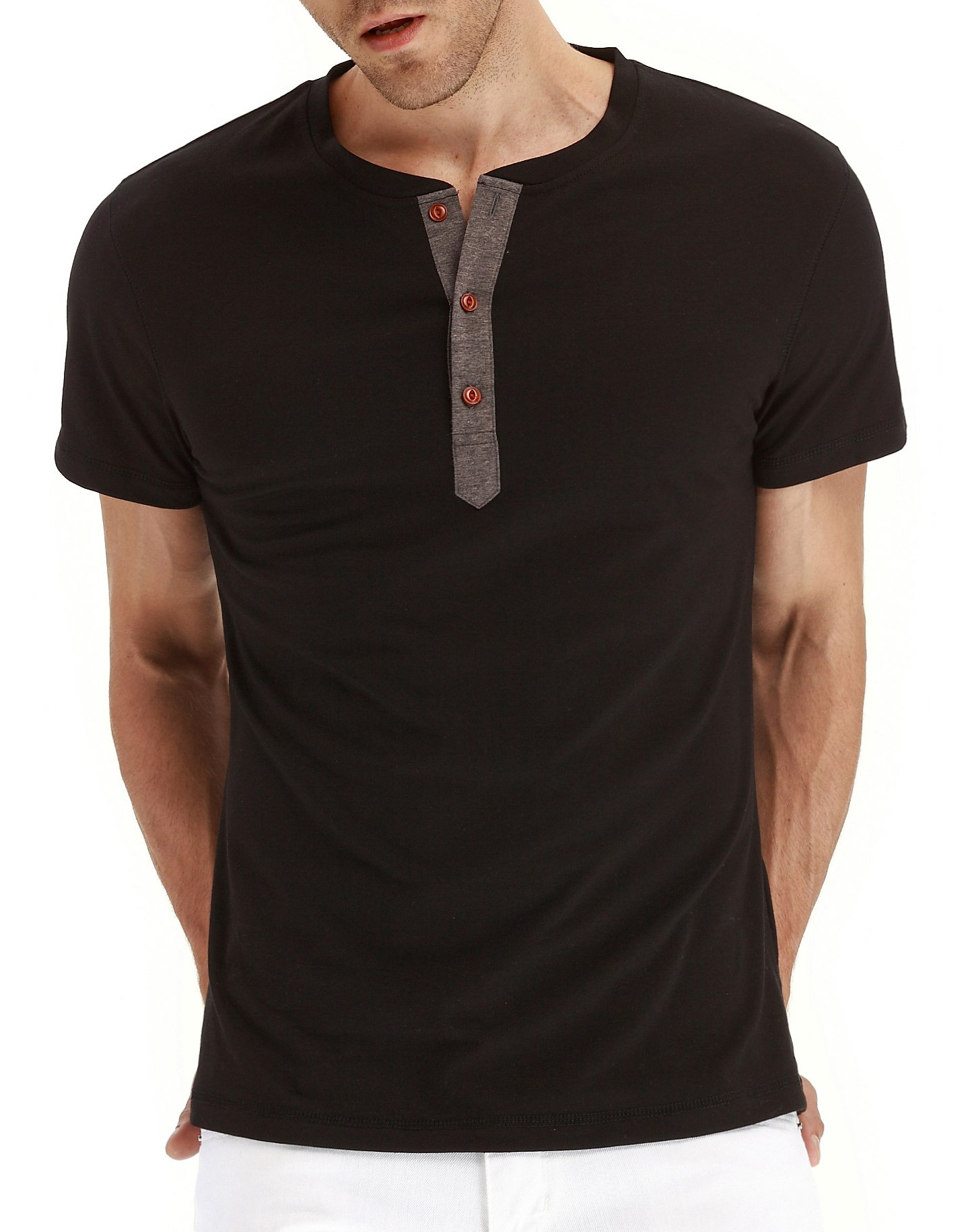 Mr.Zhang Men's Casual Slim Fit Short Sleeve Henley T-shirts Cotton Shirts Black-US M by Mr.Zhang