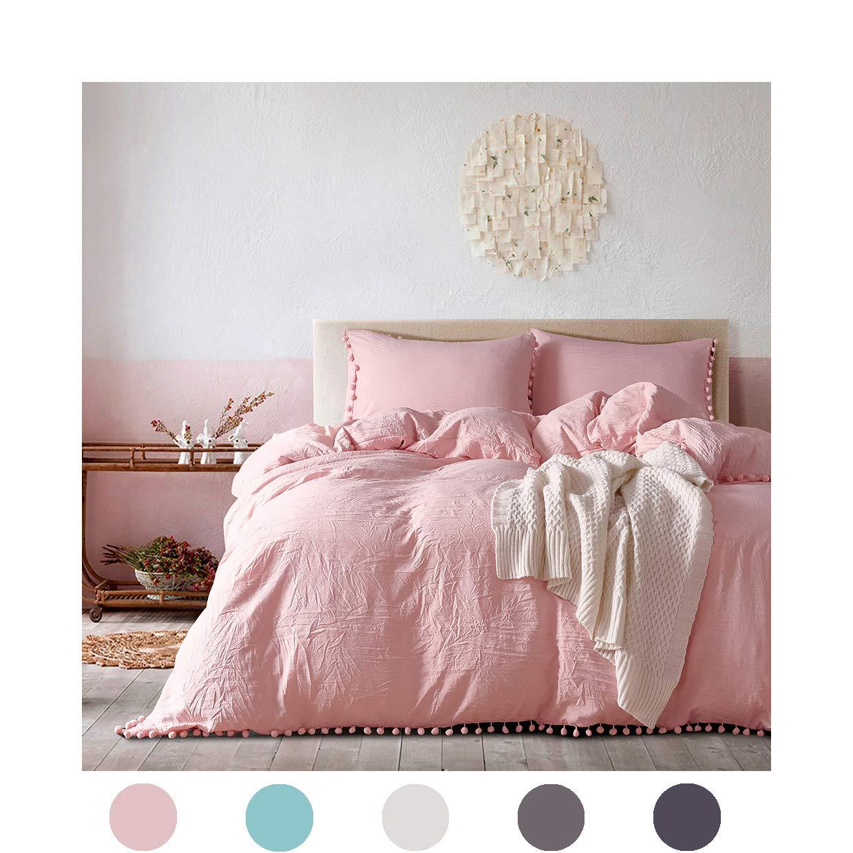 MOVE OVER 2 Pieces Pink Bedding Light Pink/Peach Duvet Cover Set Ball Fringe Pattern Design Soft Pink Girls Bedding Sets Twin 1 Duvet Cover 1 Ball Lace Pillow Sham (Twin, Peach/Pink)
