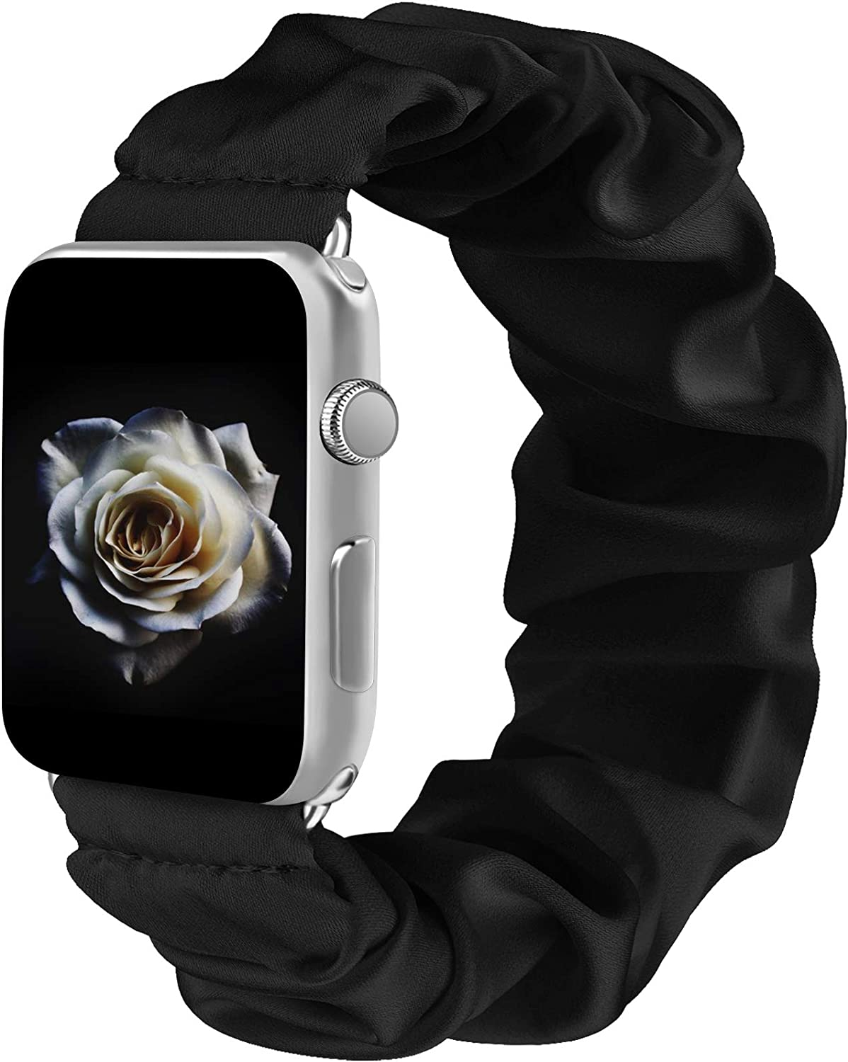 Amzpas Scrunchie Elastic Bands Compatible for Apple Watch Band 38mm 42mm Women Girl Cloth Rubber Band Bracelet for iwatch Series SE 6 5 4 3 2 1 (Black, 38mm/40mm-M/L)