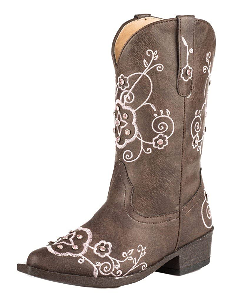 ROPER Girls Flower Sparkles Western Boot Pointed Toe Brown 9 D