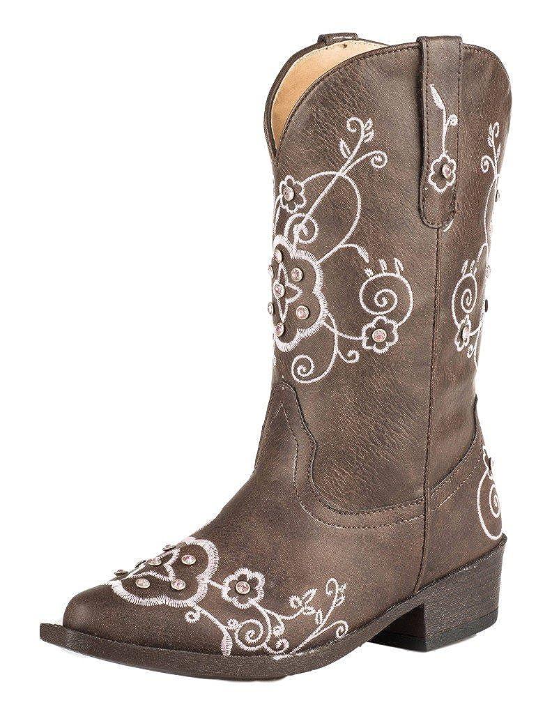ROPER Girls Flower Sparkles Western Boot Pointed Toe