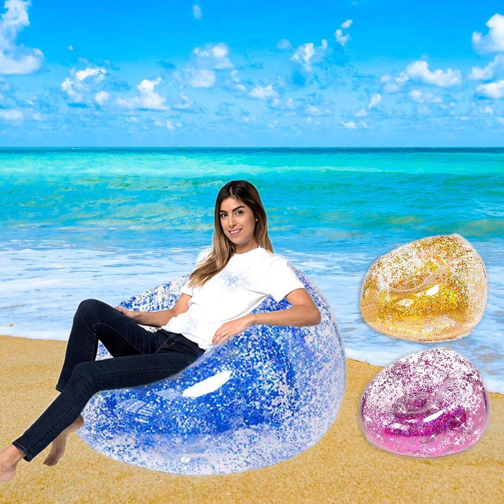 Sequins Inflatable Sofa Lounger Air Sofa Couch Cute Recliner Fashion Outdoor Cushion Bedroom Sofa Beach Chair Lazy Cute Comfortable Portable Sofa by puremood (Image #6)