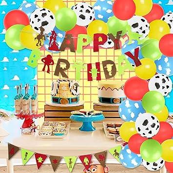 Historia de dibujos animados globo guirnalda decoraciones de cumpleaños con guirnalda feliz cumpleaños bandera vaca nube impresión globos rojo amarillo azul verde globos: Amazon.es: Juguetes y juegos