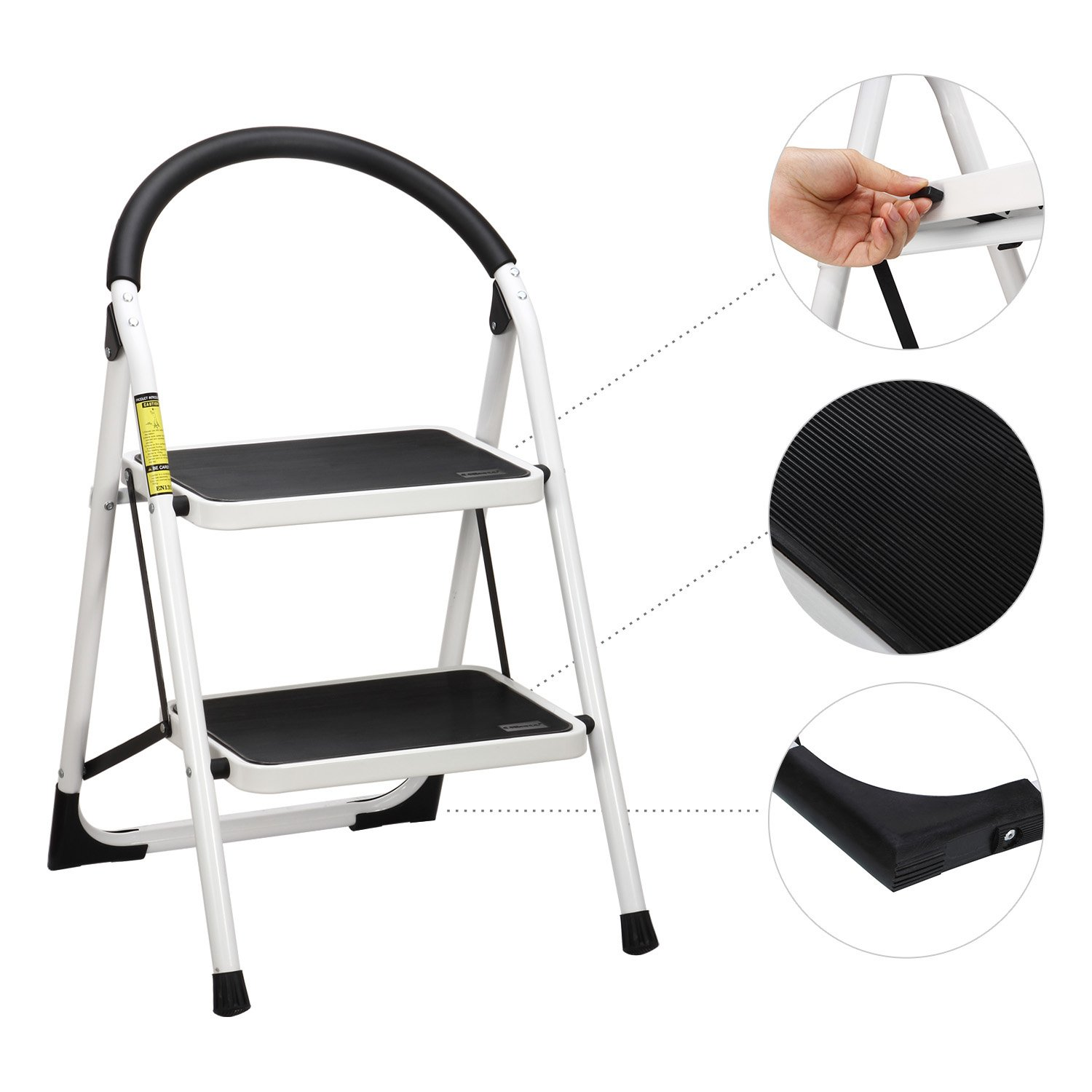 Ollieroo Step Stool EN131 Steel Folding 2 Step Ladder with Comfy Grip Handle Anti-slip Step Mon-marring Feet 330-pound Capacity White by Ollieroo (Image #4)